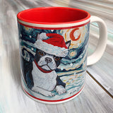 Boston Terrier Holiday Starry Night Mug