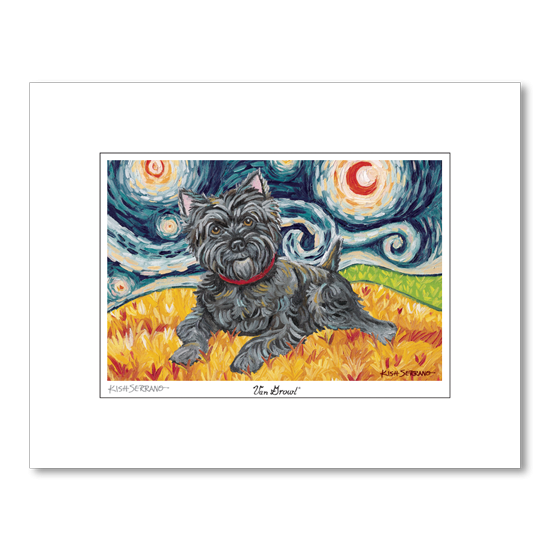 Cairn Terrier Dark Starry Night Matted Print