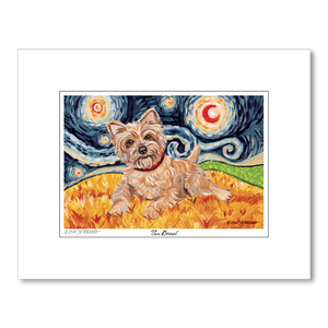 Cairn Terrier Light Starry Night Matted Print