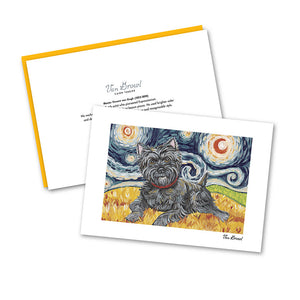 Cairn Terrier Dark Starry Night Notecard Set