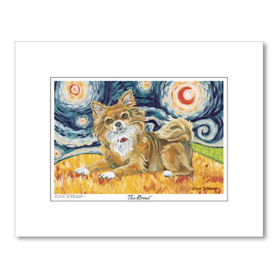 Chihuahua Longhair Starry Night Matted Print