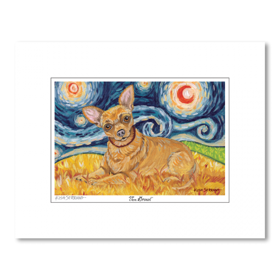 Chihuahua Starry Night Matted Print
