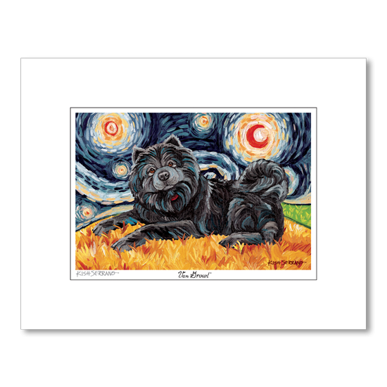 Chow Black Starry Night Matted Print