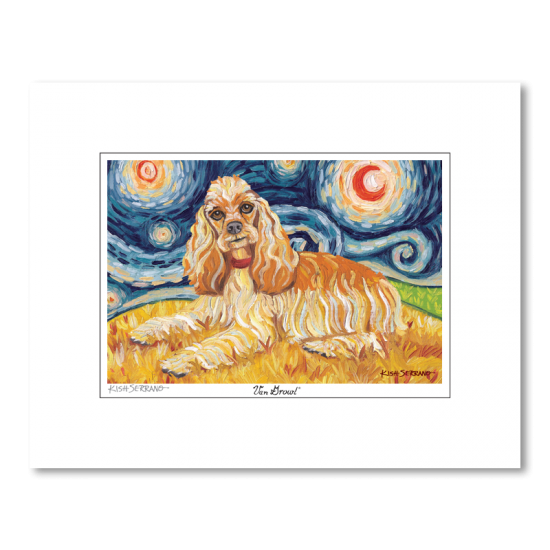 Cocker Spaniel Starry Night Matted Print