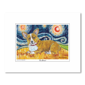 Corgi Pembroke Welsh Starry Night Matted Print