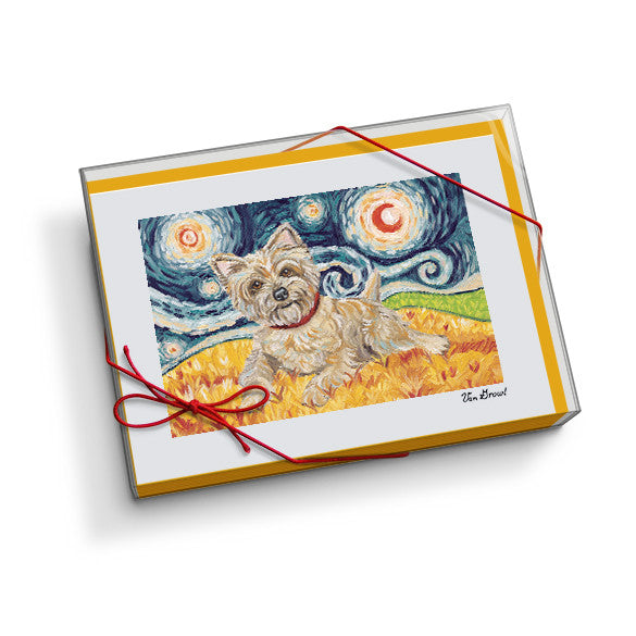 Cairn Terrier Light Starry Night Notecard Set