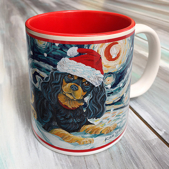 Cavalier King Charles Black and Tan Holiday Starry Night Mug