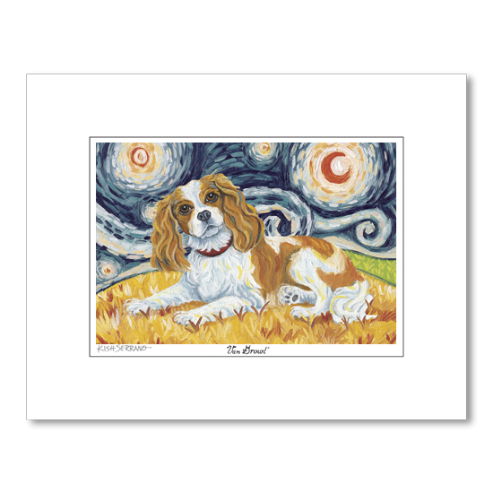 Cavalier King Charles Blenheim Starry Night Matted Print