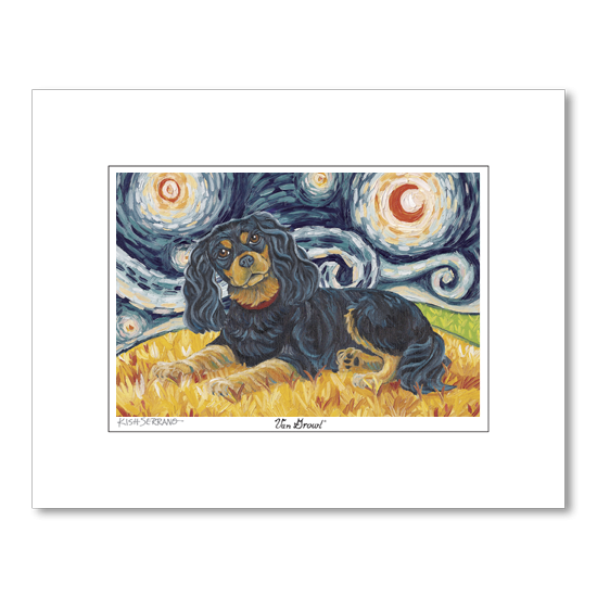 Cavalier King Charles Black and Tan Starry Night Matted Print