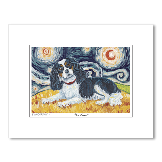 Cavalier King Charles Tri-Color Starry Night Matted Print