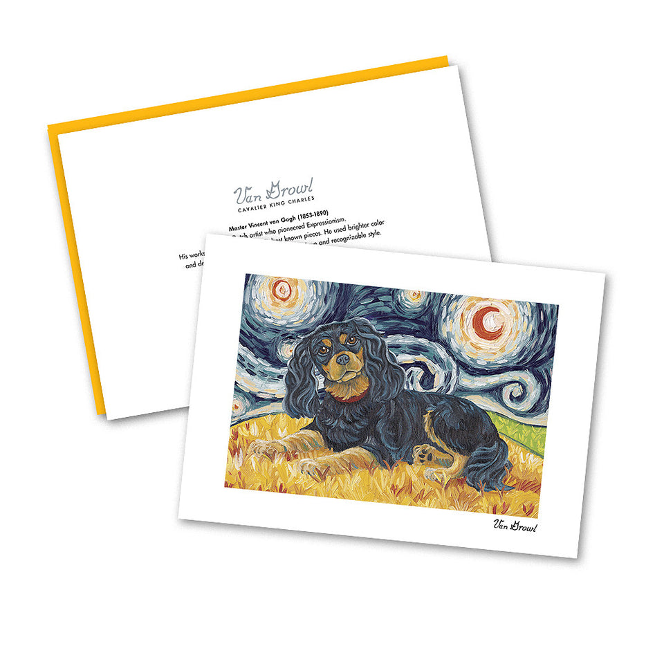Cavalier King Charles Black and Tan Starry Night Notecard Set