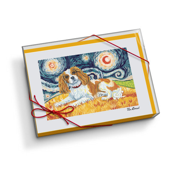Cavalier King Charles Blenheim Starry Night Notecard Set