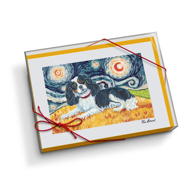 Cavalier King Charles Tri-Color Starry Night Notecard Set