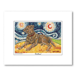Chesapeake Bay Retriever Starry Night Matted Print