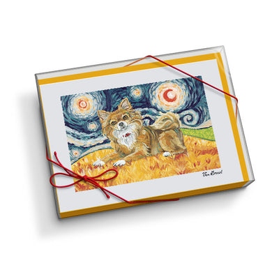 Chihuahua Longhair Starry Night Notecard Set