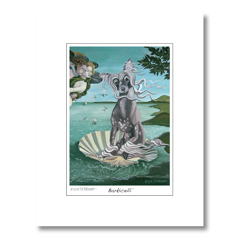 Chinese Crested Barkicelli Matted Print