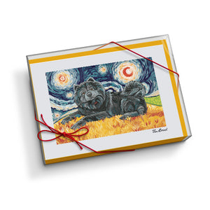 Chow Black Starry Night Notecard Set