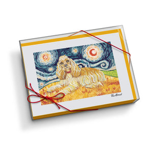 Cocker Spaniel Starry Night Notecard Set