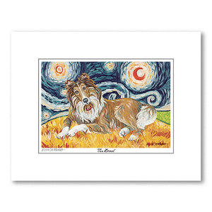 Collie Starry Night Matted Print