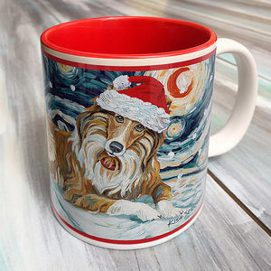 Collie Holiday Starry Night Mug