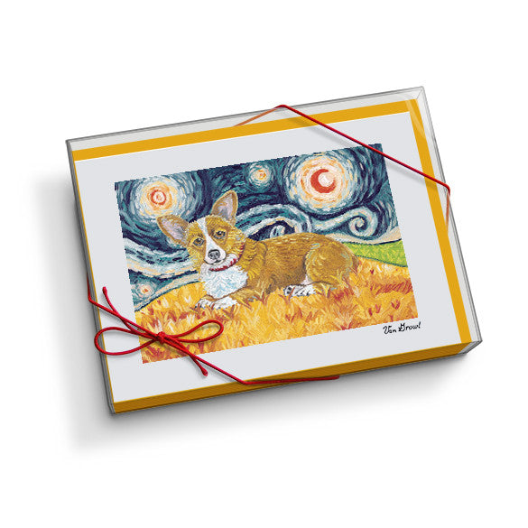 Corgi Pembroke Welsh Starry Night Notecard Set