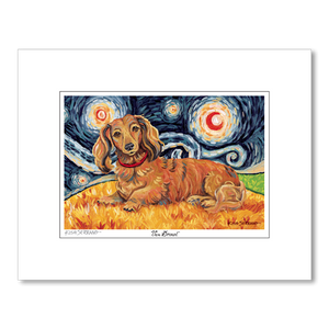 Dachshund Longhair Red Starry Night Matted Print