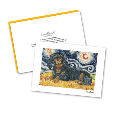 Dachshund Longhair Black and Tan Starry Night Notecard Set