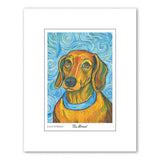 Dachshund Van Growl Portrait Matted Print
