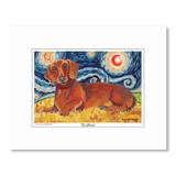 Dachshund Red Starry Night Matted Print