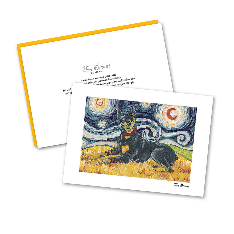 Doberman Starry Night Notecard Set