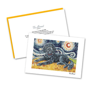 Doodle Black Starry Night Notecard Set