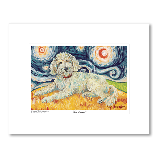 Doodle Cream Starry Night Matted Print