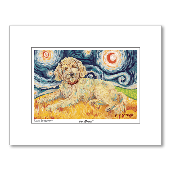 Doodle Golden Starry Night Matted Print