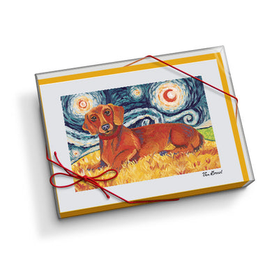 Dachshund Red Starry Night Notecard Set