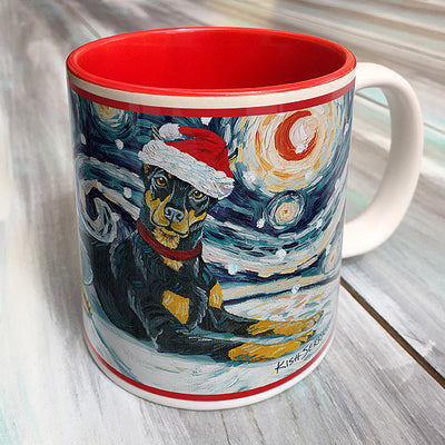Doberman Holiday Starry Night Mug