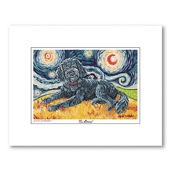 Doodle Black Starry Night Matted Print