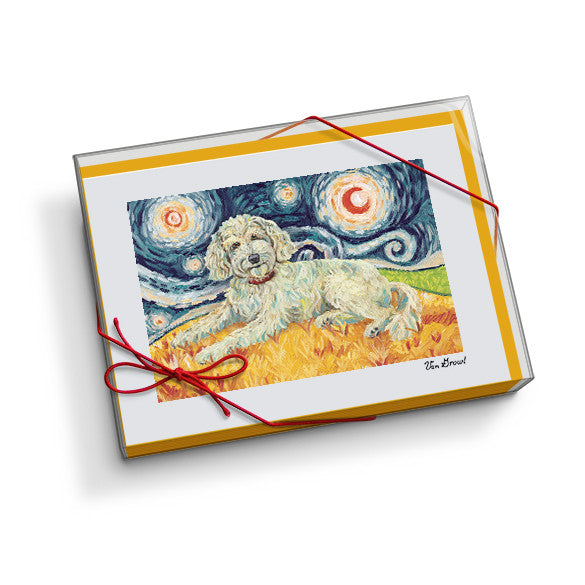Doodle Cream Starry Night Notecard Set