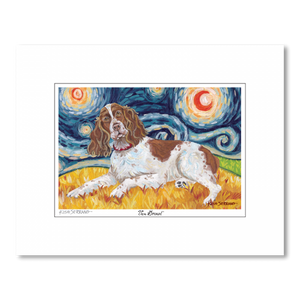 English Springer Spaniel Starry Night Matted Print