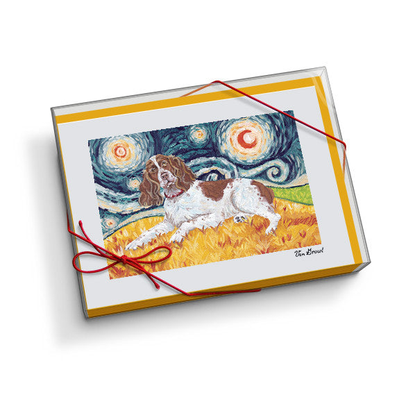 English Springer Spaniel Starry Night Notecard Set