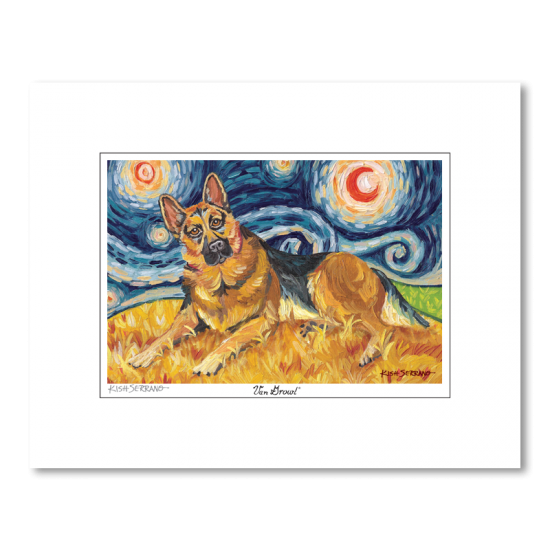 German Shepherd Starry Night Matted Print