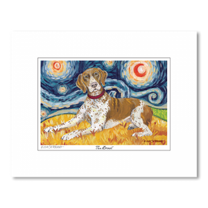 German Shorthair Pointer Starry Night Matted Print