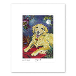 Golden Retriever Chagrowl Matted Print