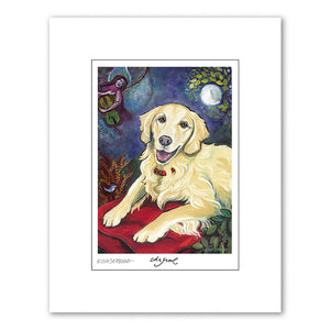 Golden Retriever Cream Matted Print