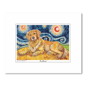Golden Retriever Starry Night Matted Print