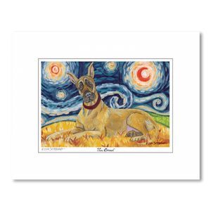 Great Dane Starry Night Matted Print