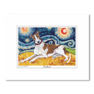Greyhound Starry Night Matted Print