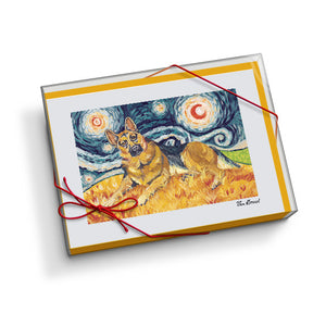 German Shepherd Starry Night Notecard Set