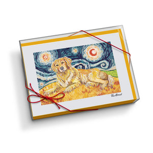Golden Retriever Starry Night Notecard Set