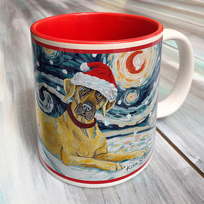 Great Dane ears un-cropped Holiday Starry Night Mug