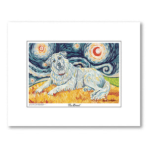 Great Pyrenees Starry Night Matted Print